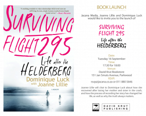 """Book Launch of  """"Surviving Flight 295: Life after the Helderberg"""" by Joanne Lillie"""