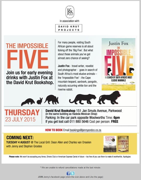"""""""The Impossible Five"""" Book Launch with Justin Fox and Jenny Crwys-Williams"""